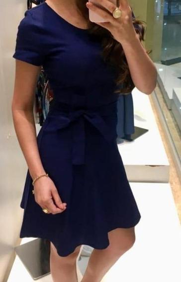 Vestido Azul Manga Curta Gioconda Portto Tam 40