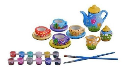 Juego De Te Tazas Set Ceramica P/ Pintar Y Decorar Juguete