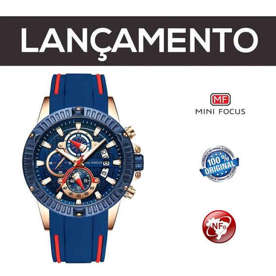 Relógio Minifocus Original Azul Com Nota Fiscal E Garantia
