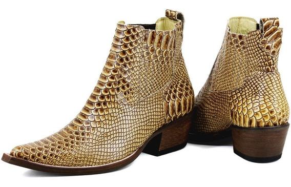 Botina Texana Country Bico Fino Atron Shoes Em Couro Legítimo