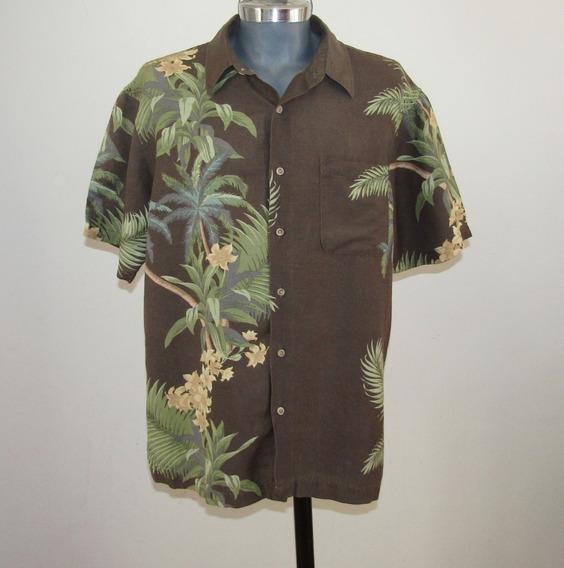 Van Heusen Camisa Hawaiiana Color Cafe Talla L