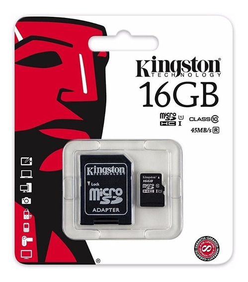 Cartão Micro Sd Kingston 16gb + Adaptador - Class 10 45mb/s