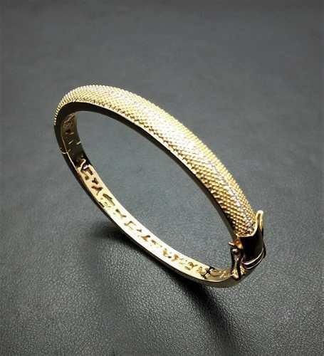 Bracelete Algema Cravejado Zirconias Champagne B Ouro 3583