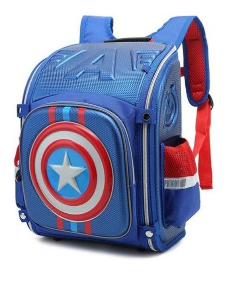 Bolsa Mochila Escolar 3d Capitão América Novo Infantil