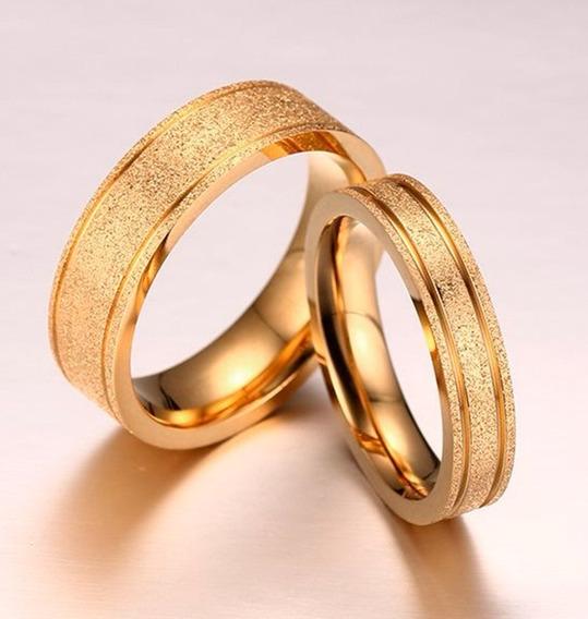 Par Aliança 6mm Aço Inox Jateado Ouro 18k Casamento Noivado