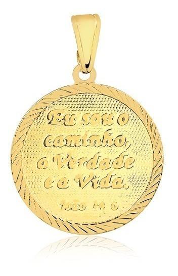 Pingente Semijoia Medalha Bíblica Salmo João 14.6