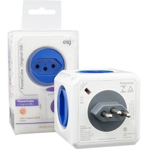 Adaptador Tomadas Power Cube Bivolt 4t 2 Usb Original Elg