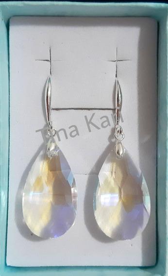 Brinco Swarovski Gota De Aqua Cristal Shimmer Ab Folh.a Prat