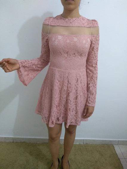 Vestido Em Renda - Cor Rosa Chá