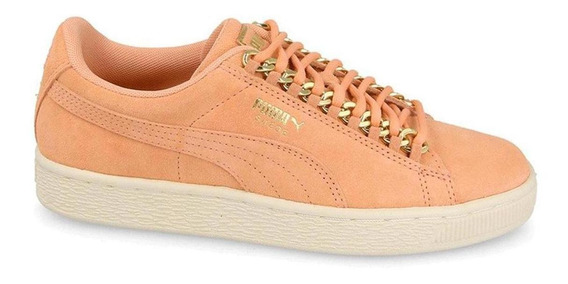 Tenis Mujer Puma Basket Suede Classic X Chain Color Rosa