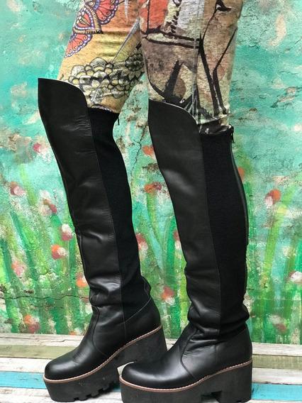 Botas Bucaneras Cuero Negro De Mujer 38 Al 41