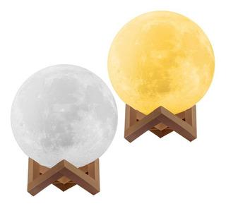 Set X2 Lamparas Luna Llena Led Velador Luz De Noche