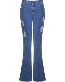 8247f389f Calça Jeans Flare Sawary Barra Desfiada - Calçados, Roupas e Bolsas ...