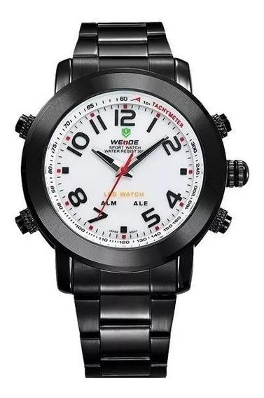 Relógio Masculino Weide Anadigi Wh-1105 Branco Com Nf