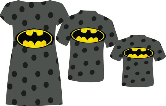 Vestido Adulto + Blusas Adulto E Infantil - Bat Symbol 3