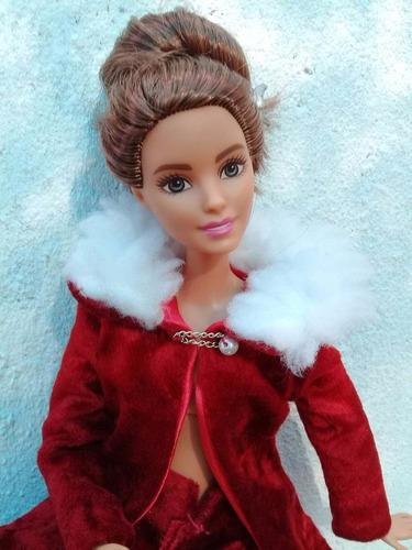 Imagen 1 de 4 de Conjunto En Terciopelo Rojo , Ropa Para Barbie Y Similares.