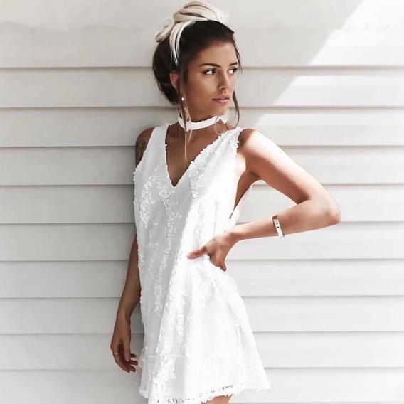 Vestido De Civil Blanco Con Lentejuelas Importado