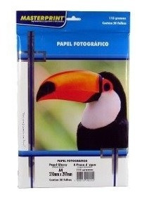 Papel Fotográfico Glossy A4115g Kit C/5 Pcts C/250 Fls Total