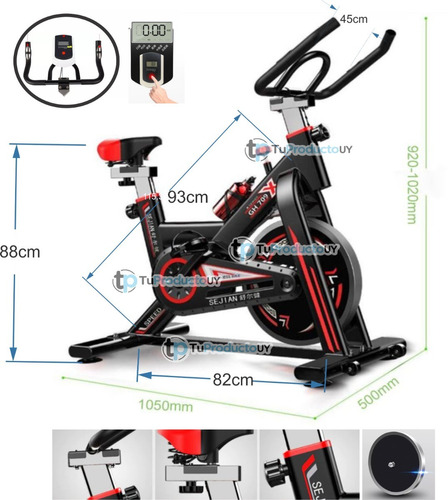 Bicicleta Spinning Regulable Asiento Manillas Tuproductouy