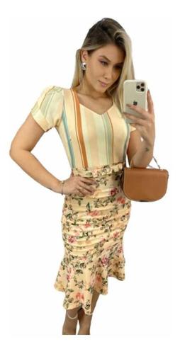 Vestido Midi Moda Evangélica Tubinho Quadril Drapeado