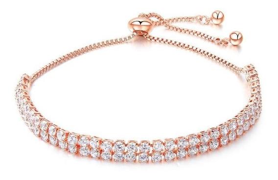 Pulsera Mujer Hermosa Regalo Chapa Oro Rosa 920 Cristales