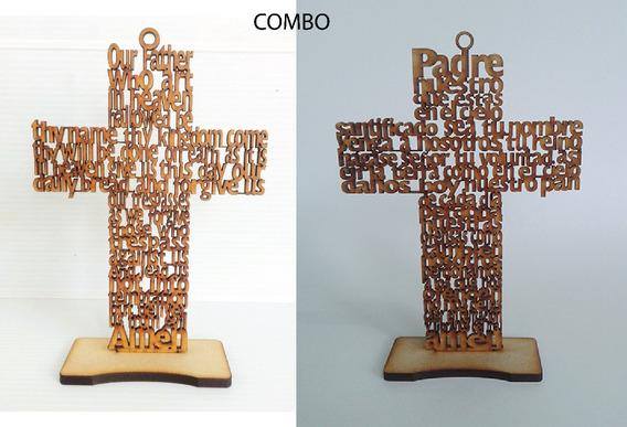 25 Cruces Español 10 Inglés 20 Cm Padre Nuestro Mdf Grabadas