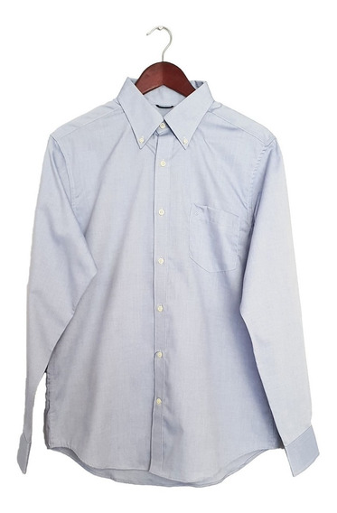 Camisa Nautica Slim Fit Azul Lisa
