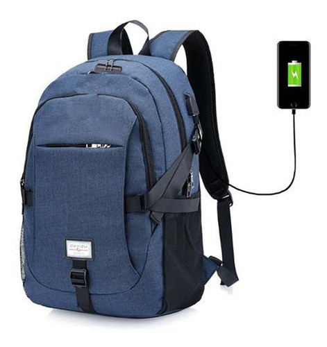 Mochila Con Clave Impermiable Para Laptop Cable Usb Y Aux
