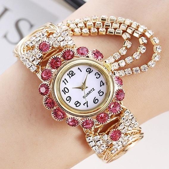 Relógio De Pulso Feminino - Pulseira Cristal
