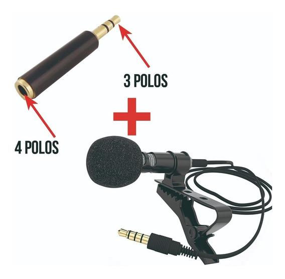Microfone De Lapela Para Celular + Adaptador P/ Câmera Dslr