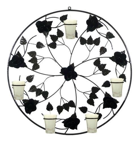 Mandala Rosas 50 Cm Decoração Parede Ferro Vintage