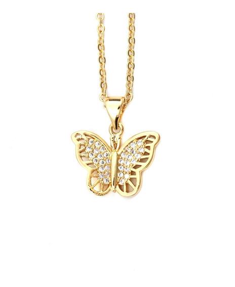 Collar Mariposa Brillante Dorada Acero Inoxidable Oro Platin