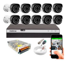 Kit Dvr Intelbras 16 Canais 10 Cameras 1220b Full Hd 1080p