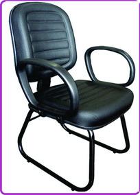 Cadeira Diretor Fixa Base Sky Trapesio Corino Com Costura