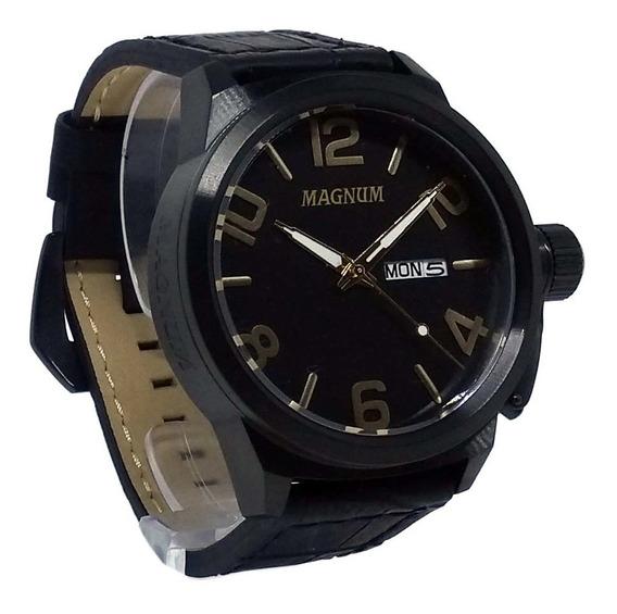 Relógio Magnum Masculino Grande Militar Couro Ma33399p