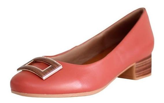 Sapato Feminino Bico Redondo Usaflex Couro Legitimo 0401