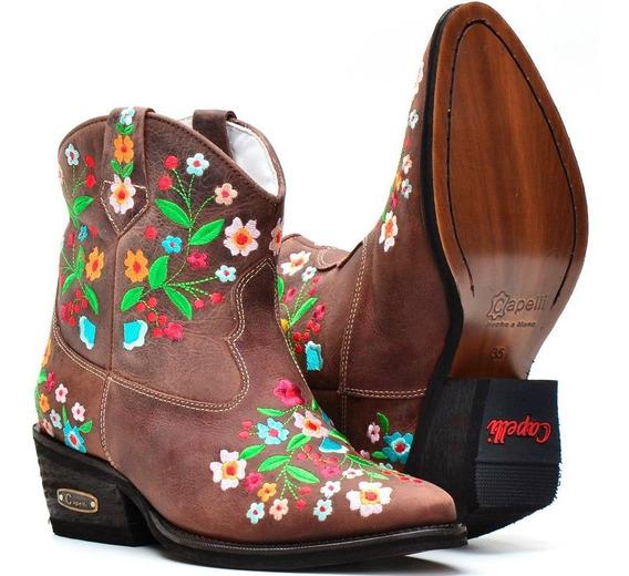 Bota Feminina Couro Bordada Floral Country Texana Lançamento