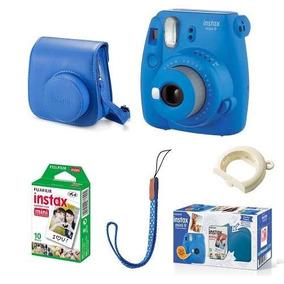 Kit Câmera Instax Mini 9 Azul Cobalto +case + Filme 10 Poses