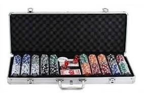 Maleta De Poker Com 500 Fichas Numeradas Completa Com Dados