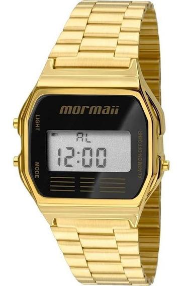 Relógio Dourado Feminino Digital Retrô Mormaii Mojh02ab/4p.