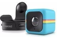Câmera De Ação Full Hd Cube Polaroid Azul + Suporte Capacete