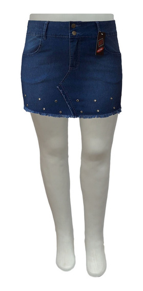 Mini Saia Jeans Mullet Com Ilhós Plus Size Tamanhos 44 Ao 60