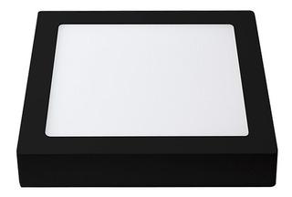 Panel Led Aplicar Plafon Cuadrado 18w Marco Negro