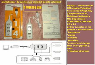 Hub 4 Puertos Usb Multiplicador Extension Netbook Notebook