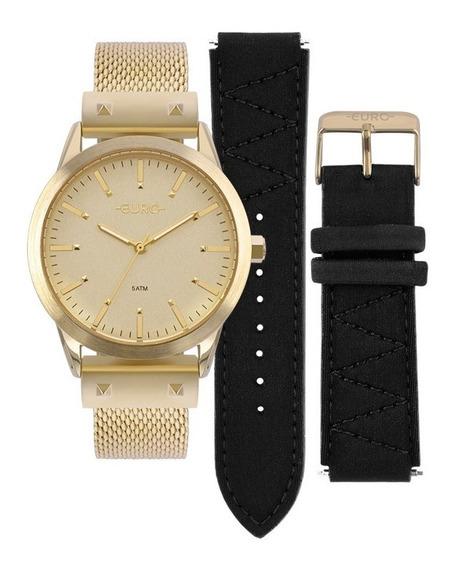 Relógio Euro Feminino Neoprene Dourado Eu2035yok/4d + Nfe