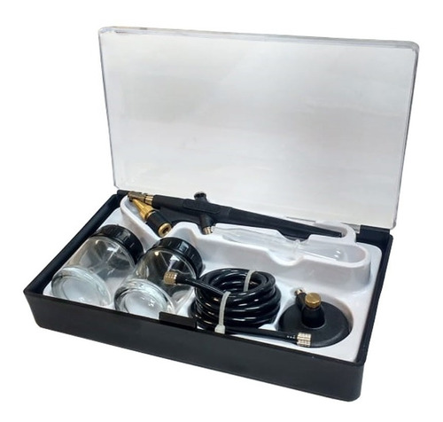 Aerografo Duplo Kit Pintura Confeitaria Automotivo Barbearia