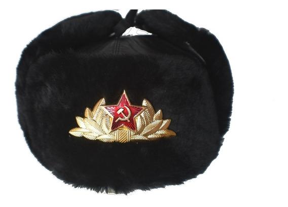 Ushanka Sombrero Ruso Oficial De Marina Negro Piel Natural