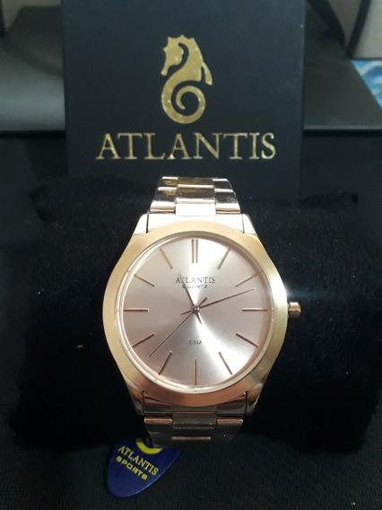 Relogio Unissex Atlantis G3498 Rose Fundo Rose