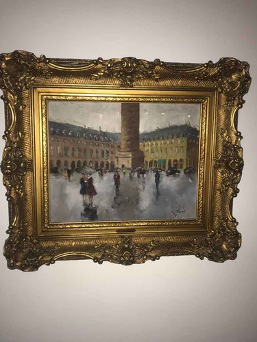 Obra De Arte Pintor Francés Imponente Cuadro .