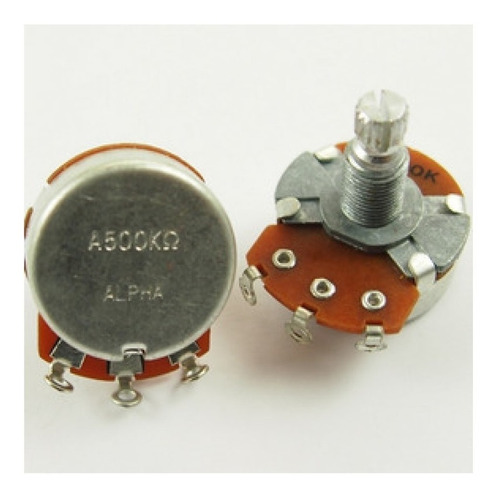 Imagem 1 de 2 de Potenciometro Alpha A500k Ou B500k Eixo Longo Tambor Largo